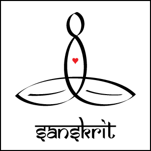 Meditator with Black Sanskrit Style Text